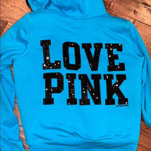 limited edition VS PINK faux fur lined zip hoodie